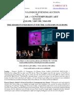 Christie'S London Evening Auction  Of  Post-War & Contemporary Art  Realises  £132.8M / $207.3M / €165.8M
