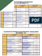 Calendario de pruebas de septiembre 2012