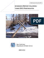 NY PSC Report on October 2011 Nor'Easter Response