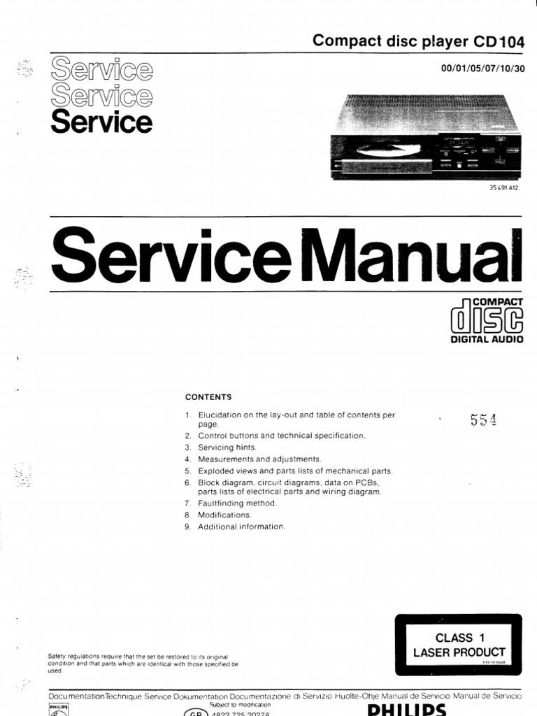 repair manual philips cd 104 compact disc player