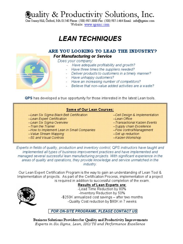 Lean Brochures Lean Manufacturing Six Sigma