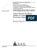 INFORMATION SECURITY Cyber Threats Facilitate Ability to Commit Economic Espionage