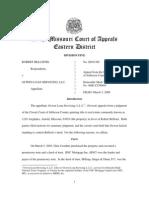 Robert Bellistri, Respondents, V. Ocwen Loan Servicing, Llc, Appellant. Missouri Court of Appeals 3-03-2009