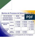 Montos Procesos de Selección 2012