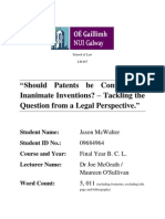 Should Patents be Confined to Inanimate Inventions? – Tackling the Question from a Legal Perspective