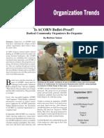 Is ACORN Bullet-Proof? Radical Community Organizers Re-Organize, by Matthew Vadum (Organization Trends, September 2011)