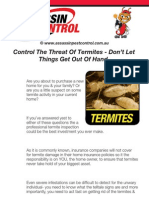 Controlling Termites Including Inspection Equipment Checklist
