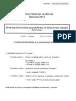 Sujet Histoire Geo Brevet 2012