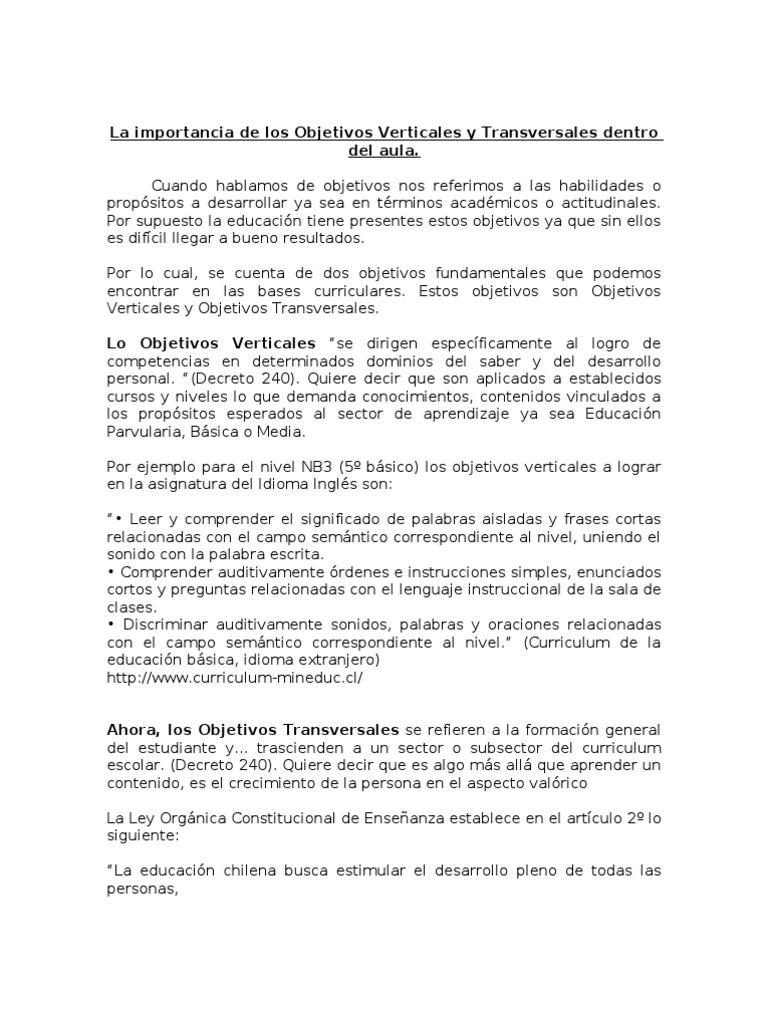 La Importancia de Los Objetivos Verticales y Transversales Dentro ...