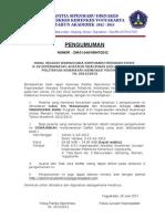 Pengumuman Hasil Wawancara D4 Anestesi Reanimasi Poltekkes Kemenkes Yogyakarta TA.2012/2013