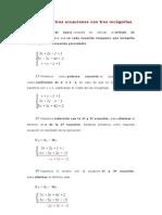 Sistema de tres ecuaciones con tres incógnitas