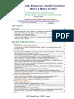 Health, Education, Social Protection News & Notes 14/2012