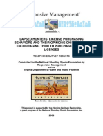 NSSF - Lapsed Hunters' License Purchasing Behaviors and their Opinions on Messages Encouraging the to Purchase Hunting Licenses - 2009