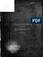 Fragments From Reimarus- Consisting of Brief Critical Remarks on the Object of Jesus and His Disciples as Seen in the New Testament Vol 1. (1879) Reimarus, Hermann Samuel, 1694-1768