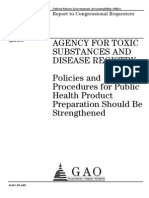 GAO - 2010 ATSDR Policies and Procedures for Public Health Should Be Strengthened
