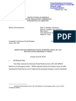 PRC Denies APWU Motion