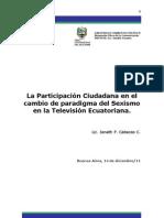 La Participación Ciudadana en el cambio de paradigma del Sexismo en la Televisión Ecuatoriana.