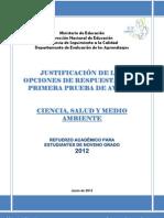 JUSTIFICACIÓN DE LAS OPCIONES DE RESPUESTA DE LA PRIMERA PRUEBA DE AVANCE - CIENCIA, SALUD Y MEDIO AMBIENTE 9º
