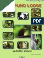 Shiripuno Lodge Birdlist 2012