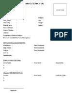 Biodata Format