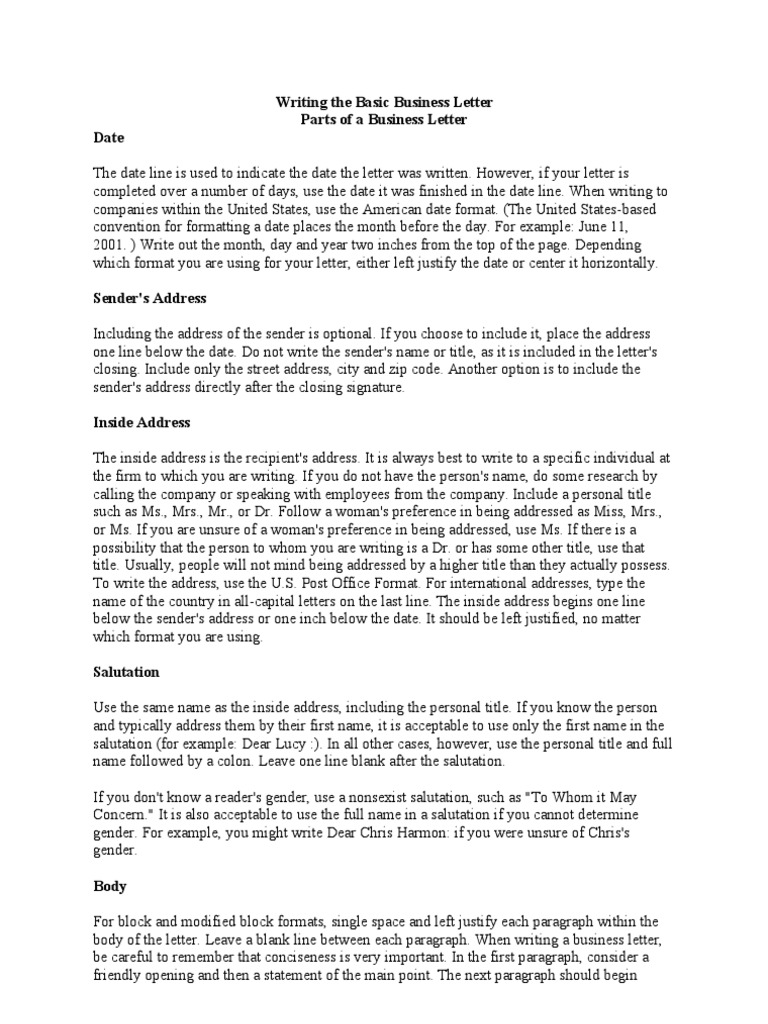 Writing The Basic Sales Letter Address Geography Paragraph