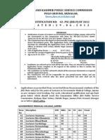 Notification JKPSC Lecturer Post