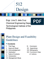 CHE 512 Plant Design Guidelines Format