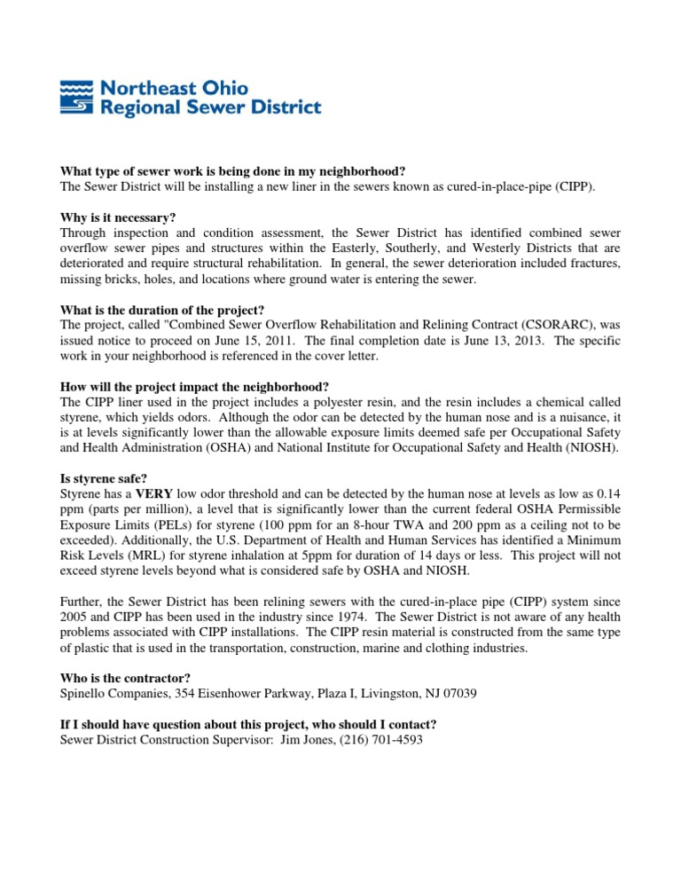 FAQ: Sewer reconstruction and relining, CIPP, and W. 11 St ...