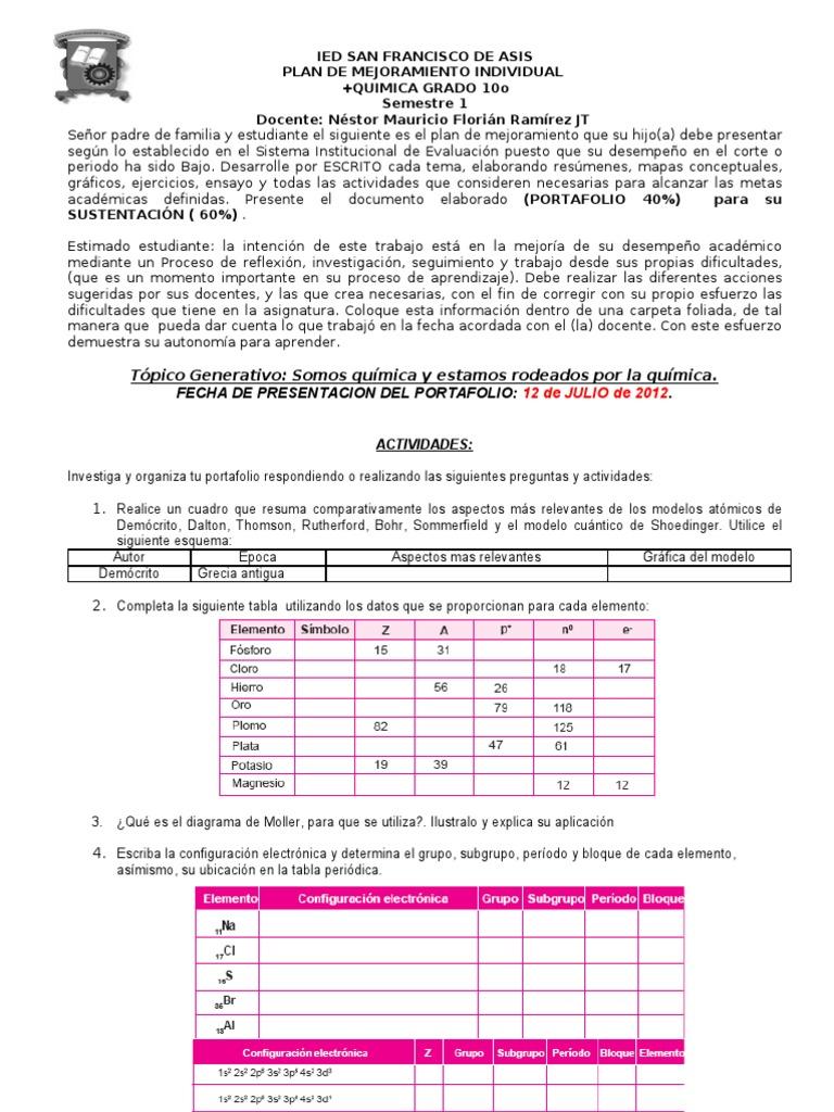 Plan mejoramiento quimica primer semestre urtaz Images