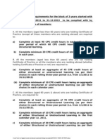 Cpehours Requirements for Various Catagory of Members 1-1-2011 to 31-12-2013
