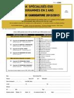 Dossier de candidature MBA ESG année M1 - 2012-2013