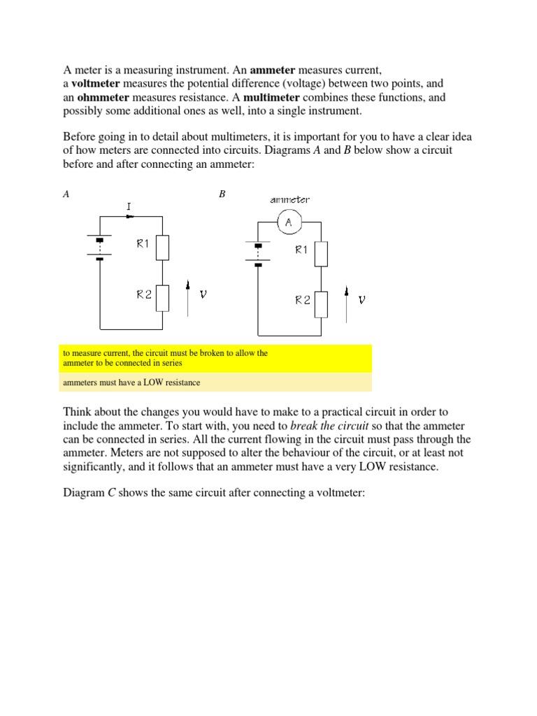 A Meter Is Measuring Instrument Voltage Resistor Resistance Measurement Circuit Diagram