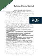 codul etic al farmacistului