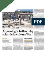 Arqueologos descubren reloj solar cultura Wari