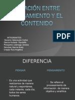 RELACIÓN ENTRE PENSAMIENTO Y EL CONTENIDO