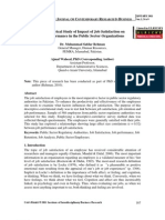 Empirical Study of Impact of Job Satisfaction