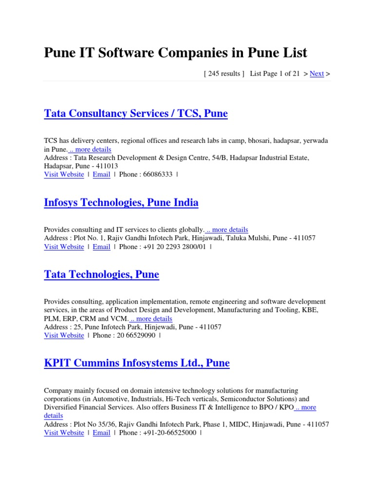 Pune IT Software Companies in Pune List | Product Lifecycle