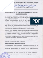 062912 Déclaration du REPRODHOC Sud Kivu sur la situation à l'Est de la RDC