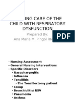 Nursing Care of the Child With Respiratory Dysfunction