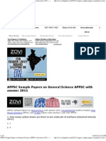 APPSC Sample Papers on General Science APPSC with asnwer 2011 « «