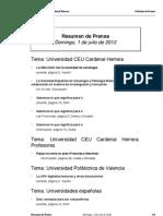 Resumen de Prensa CEU-UCH 01-07-2012