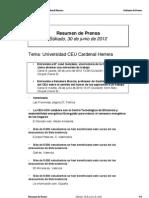 Resumen de Prensa CEU-UCH 30-06-2012