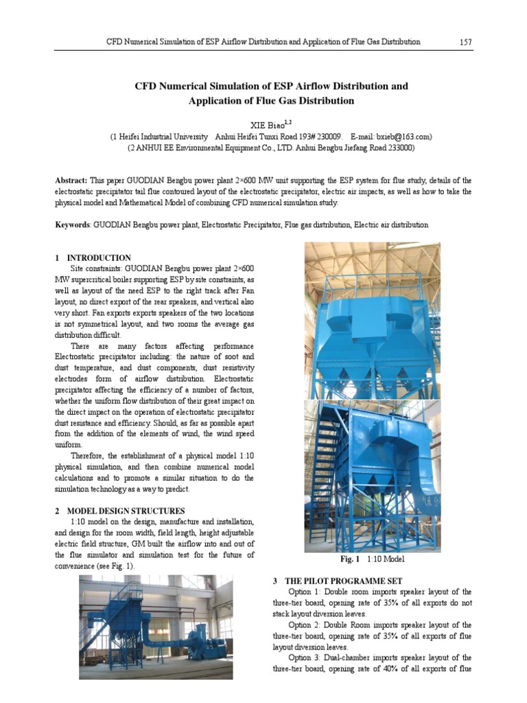 157CFD Numerical Simulation of ESP Airflow Distribution and