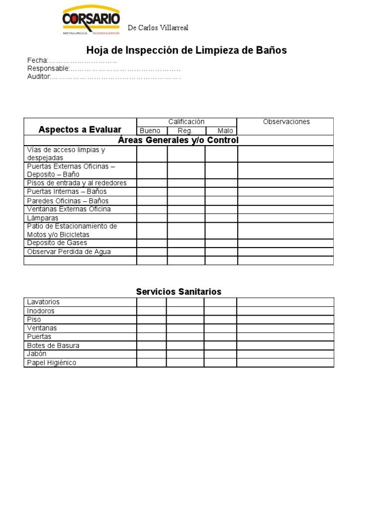 Limpieza De Cabinas De Baño:Check List de Limpieza de Baños