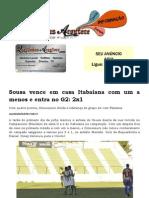 Sousa Vence Em Casa Itabaiana Com Um a Menos e Entra No G2 2x1
