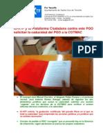 IU-XTF y la Plataforma Ciudadana contra este PGO solicitan la caducidad del PGO a la COTMAC