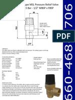 Type MSL Pressure Relief Valve 2.5 Bar 1-2Inch MBSP x FBSP
