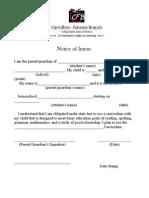 Homeschool Notice of Intent 2012-2013
