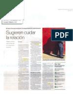 """""""Sugieren cuidar la relación"""" 26 de Septiembre de 2011-Reforma"""