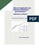 Conditions d'application des méthodes statistiques paramétriques